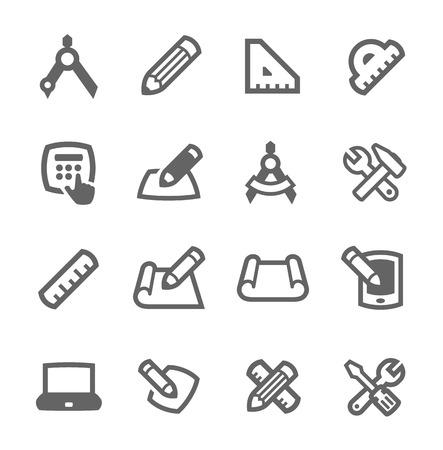 Eenvoudige reeks blauwdruk en design gerelateerde vector pictogrammen voor uw ontwerp