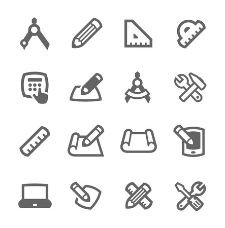 Simple set of blueprint and design related vector icons for your design Çizim