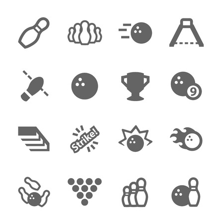 alleys: Simple set of Bowling related vector icons for your design
