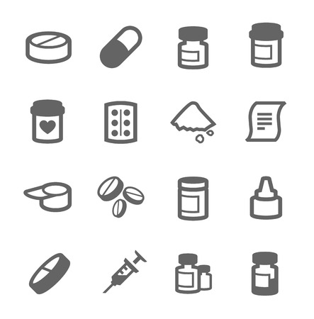 Simple set of pharma related vector icons for your design