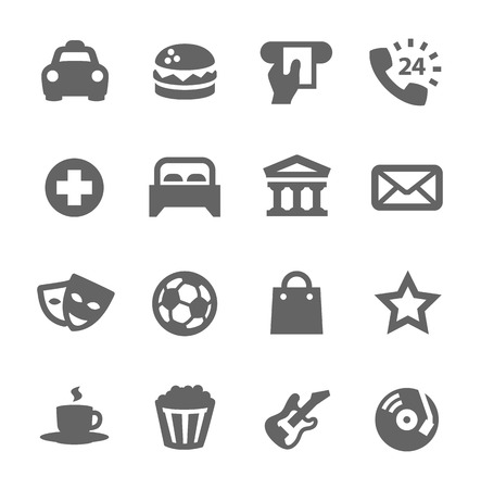 Points of interest. Different places icons. Vector