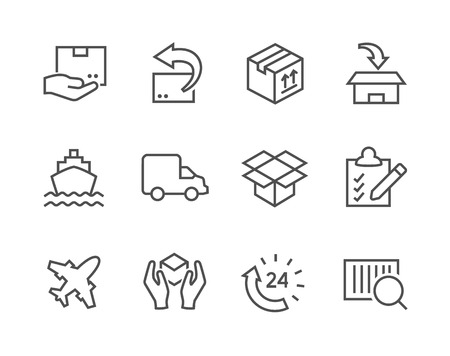 Simple icon set related to shipping and logistics for your design. Vector