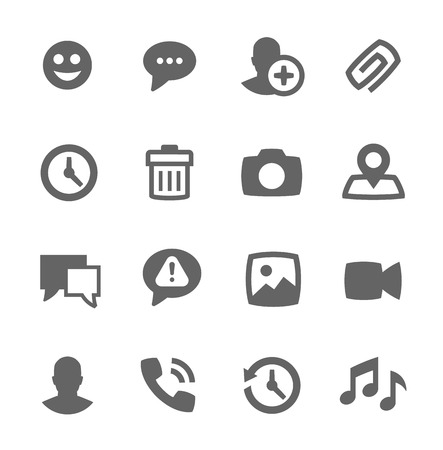 time sharing: Simple set of chat related vector icons for your design Illustration