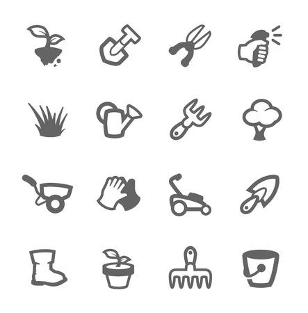 Prosty zestaw narzędzi Garden związanych ikon wektorowych dla projektu Ilustracja