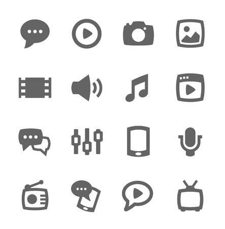 Simple conjunto de los medios de comunicación relacionados con los iconos del vector para su diseño