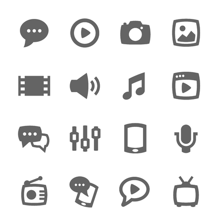 Simple set of media related vector icons for your design Illustration