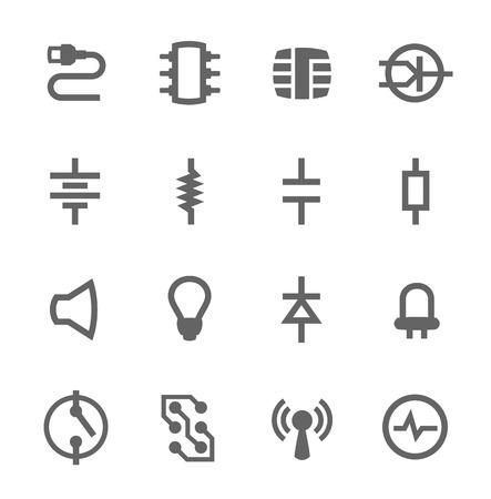 Iconos vectoriales simple conjunto de componentes electrónicos relacionados para su diseño