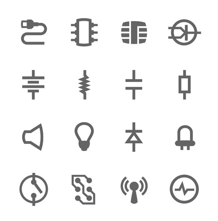 Simple set of electronic components related vector icons for your design Illustration