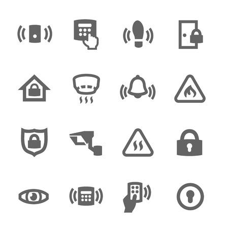 incendio casa: Simple conjunto de iconos vectoriales relacionadas con la seguridad del perímetro para su diseño