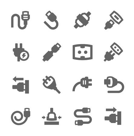 enchufe: Simple conjunto de tapón en iconos vectoriales relacionados para su diseño