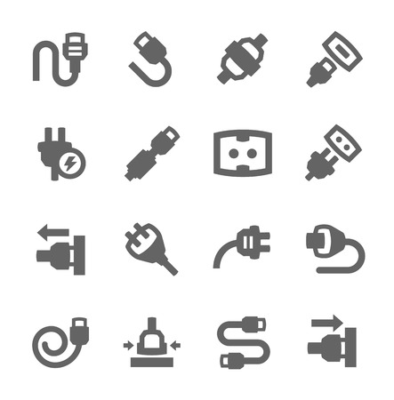 network connection plug: Simple set of plug in related vector icons for your design