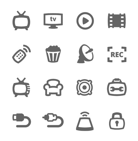 tv icon: Simple set of TV related vector icons for your design