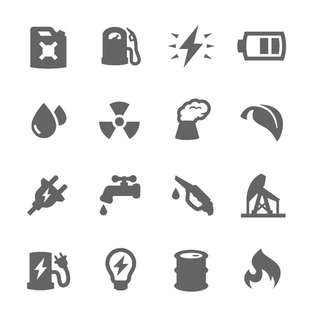 Simple set of energy related vector icons for your design Vector
