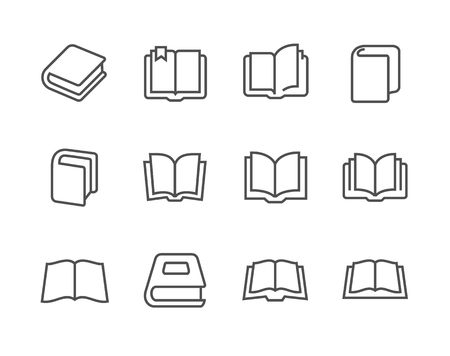 Simple set of books related vector icons for your design  Illustration