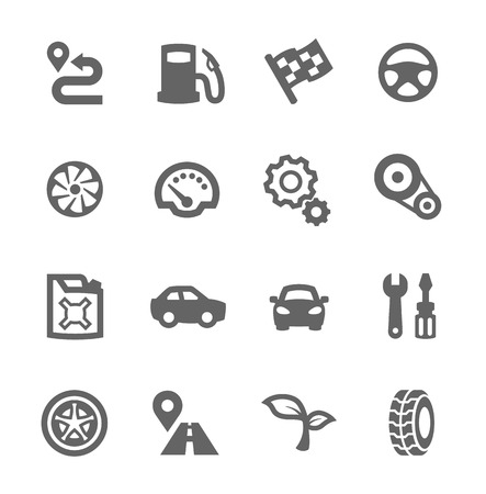 tire shop: Simple set of auto related vector icons for your design Illustration