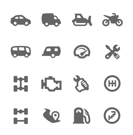 dozer: Simple set of auto related vector icons for your design Illustration