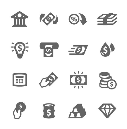 Simple set of banking related vector icons for your design
