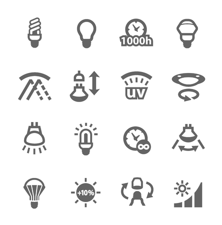 halogen lighting: Simple set of lamp features related vector icons for your design