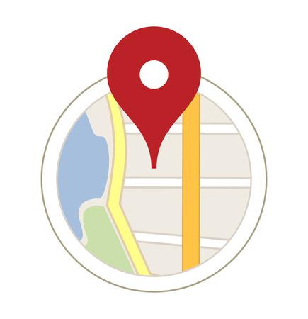 Mapa con un pin aislado en blanco Foto de archivo - 27346283