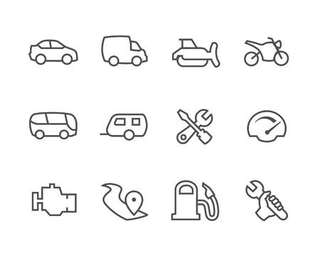 Simple set of auto related vector icons for your design Illustration