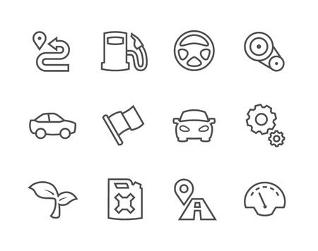 Simple set of auto related vector icons for your design Vector