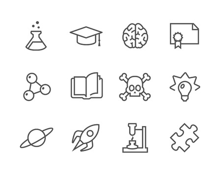 stroked: Simple set of Science related vector icons  Illustration
