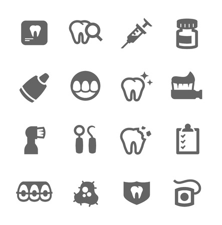 Simple set of dental related vector icons for your design Illustration