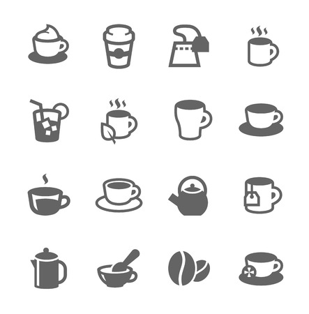 Simple set of tea and coffe related vector icons for your design Illustration