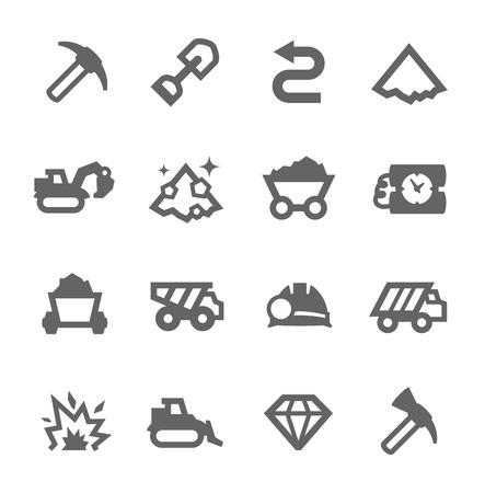 Prosty zestaw kopania i górniczych związanych z ikon wektorowych dla projektu