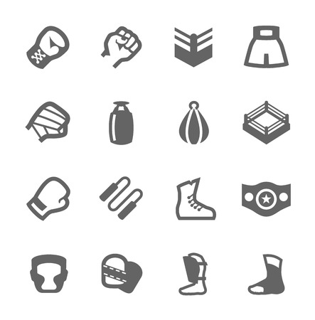 Simple Set of Boxing and fighting Related Vector Icons For Your Design Illustration
