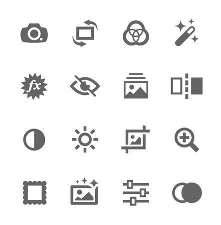 디자인을위한 이미지 편집 관련 벡터 아이콘의 간단한 설정