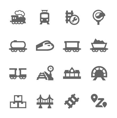 디자인을위한 벡터 아이콘 관련 기차의 간단한 설정 일러스트
