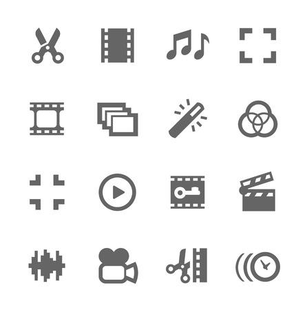 디자인을위한 비디오 편집 관련 벡터 아이콘의 간단한 설정
