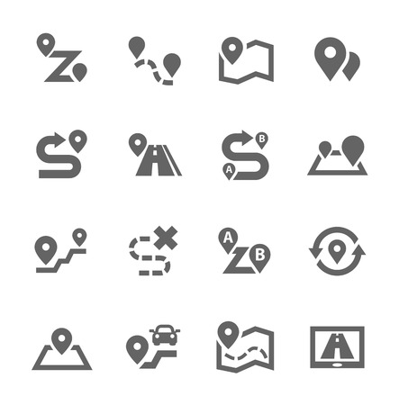 Simple Set of Route Related Vector Icons for Your Design