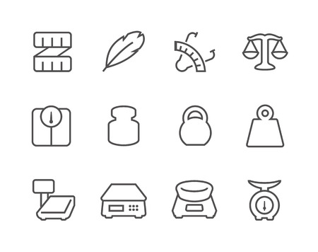 Outline Scales and Rulers Icons Illustration