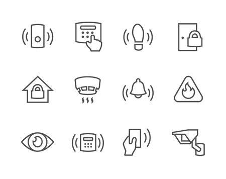 Outline Perimeter security icons Ilustrace