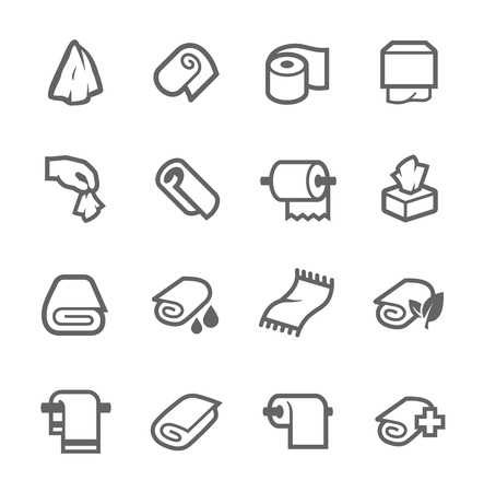 domestic bathroom: Towels and Napkins Icons Illustration