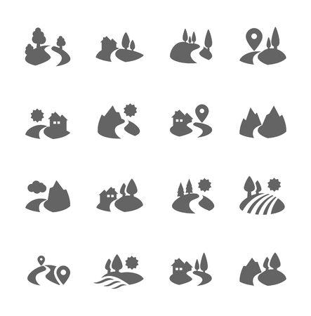 Land Icons Vector