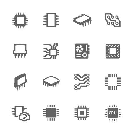 Chips en Microscheme Icons Stock Illustratie