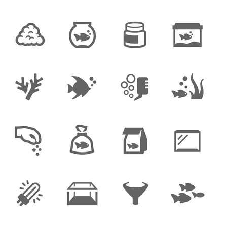 Simple Set of Aquarium Related Vector Icons for Your Design.