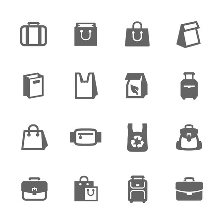 consumerism: Simple Set of Bag Related Vector Icons for Your Design. Illustration