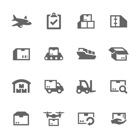 merchandise: Simple Set of Cargo Related Vector Icons for Your Design.