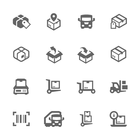 shipping supplies: Simple Set of Cargo Related Vector Icons for Your Design.