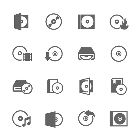 Simple Set of Compact Disk Related Vector Icons for Your Design.