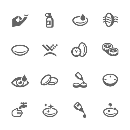 Simple Set of Eye Lens Related Vector Icons for Your Design.