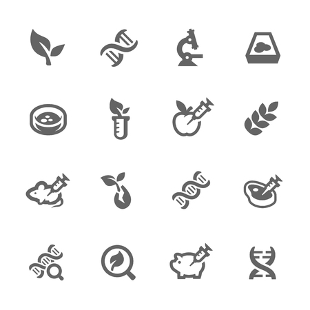 genetic modification: Simple Set GMO Related Vector Icons for Your Design.