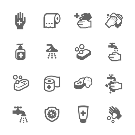 safety equipment: Simple Set of Hygiene Related Vector Icons for Your Design