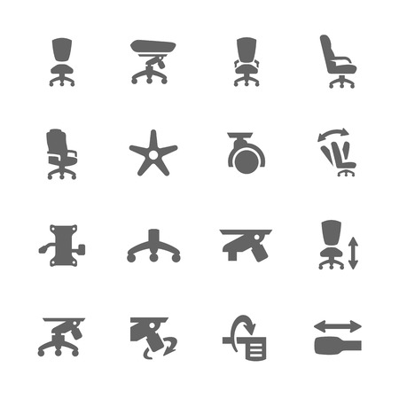 hydraulic platform: Simple set of Office Chair Related vector icons Vectores