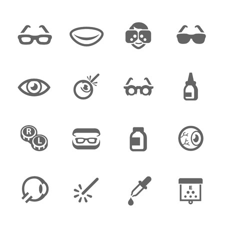 contact lens: Simple Set Optometry Related Vector Icons for Your Design
