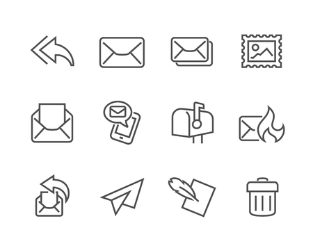 Simple Set of Mail Related Vector Icons for Your Design. Çizim
